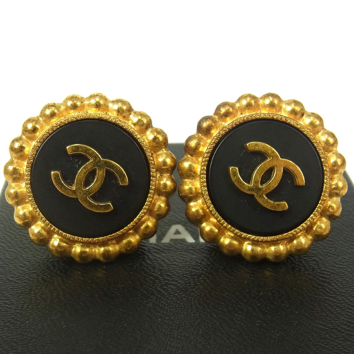 authentic vintage chanel gold black circle earrings with