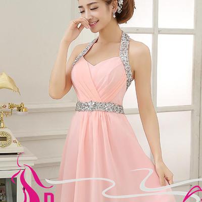 Blush Pink Homecoming Dresses Glittering Halter Beading Short ...