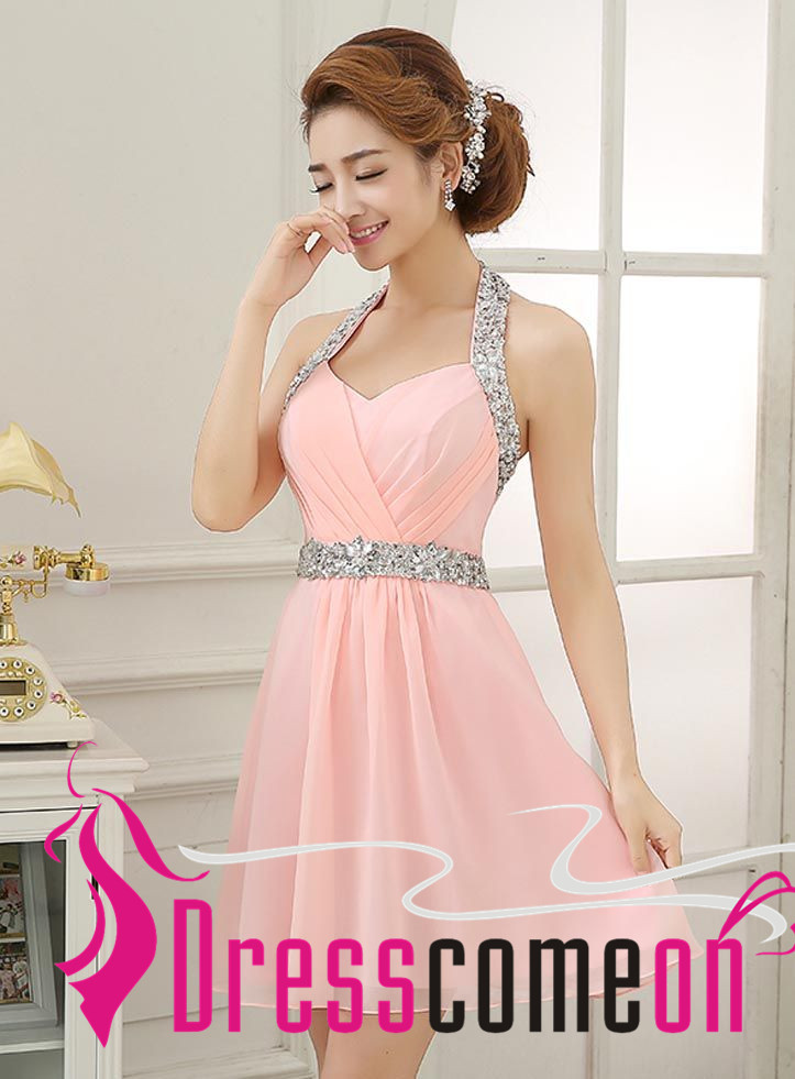Blush Pink Homecoming Dresses Glittering Halter Beading Short Light ...
