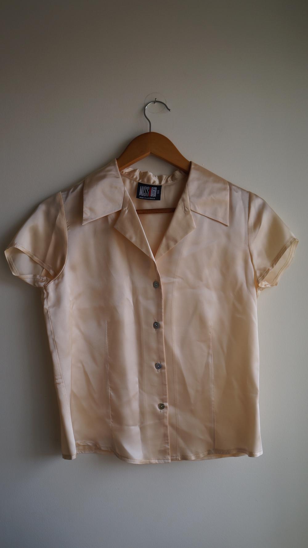 b90d3ad87731f1 Miss Shop Silk Peach Cream Ivory Short Sleeve Collared Button Down Shirt  Blouse Small