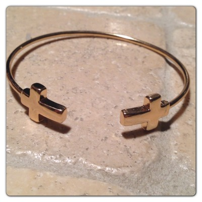 Gold tone cross bangle