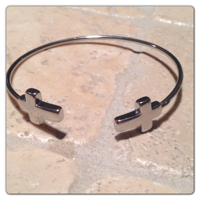 Silver tone cross bangle