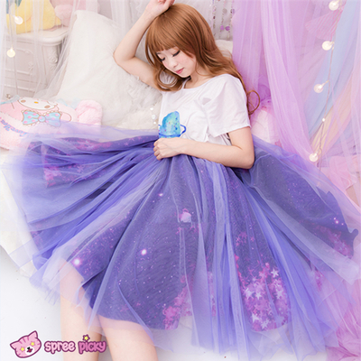 Blue/purple galaxy stars tutu fluffy petti long skirt sp151993