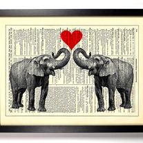 Image of Elephant Love, Vintage Dictionary Print, 8 x 10