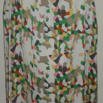 Creme/Yellow/Pink/Green Sleeveless Silk Dress-Nick and Mo Size Medium  CL413