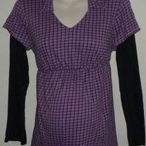 Purple/Black Long Sleeve Shirt-Oh Baby By Motherhood Size Large  CL413