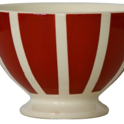Campagne red bistro stripes bowl 3 wick candle