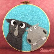 Felt Wall Art Hoop - Hippo and Rhino