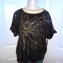 Vintage Black Sequins with flowers!! Size XL!