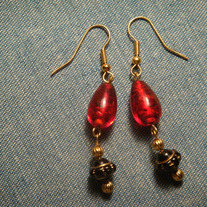 Black, Red & Gold Drop Earrings