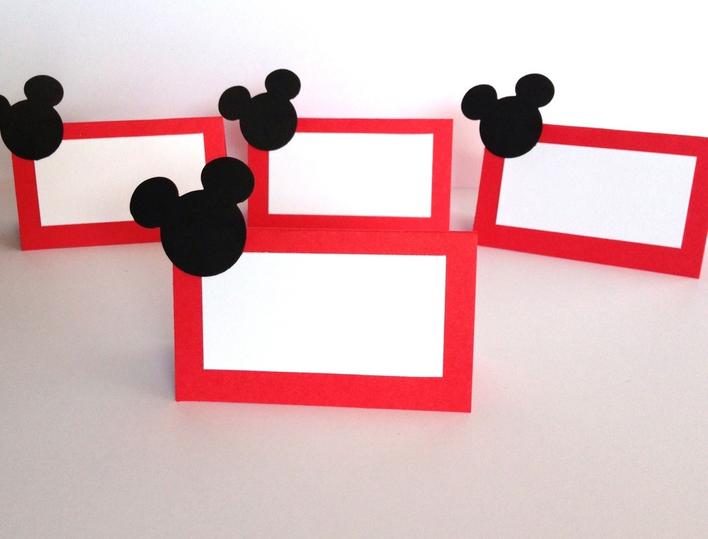 10 mickey mouse party place cards/ food labels/ mickey mouse party ...