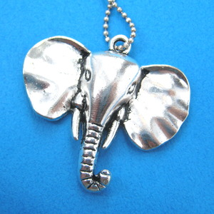 Unique Elephant Animal Statement Pendant Necklace in Shiny Silver