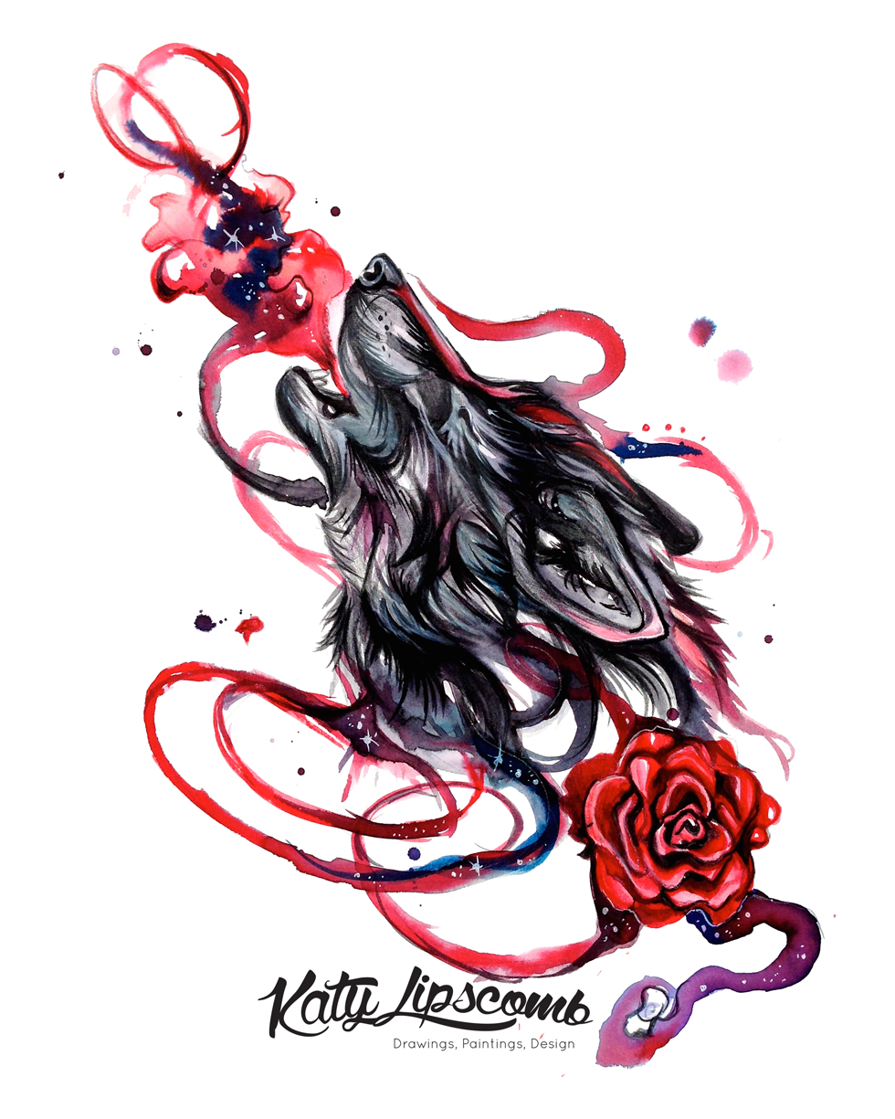 Howling Wolf With Rose 8x10 Print Katy Lipscomb Online