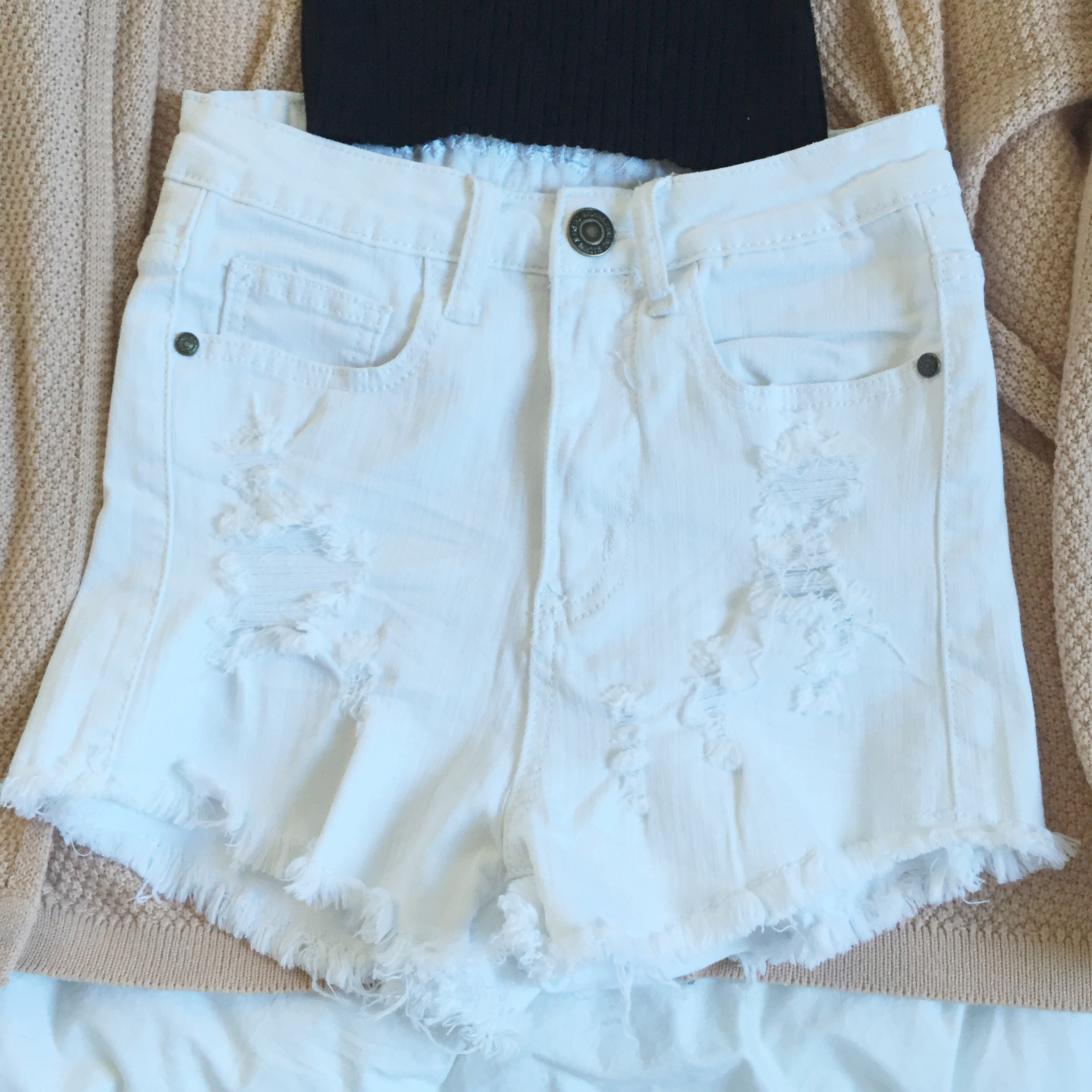 White Distressed High Waisted Shorts · Miss Julie · Online Store ...