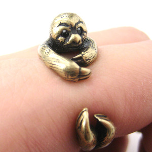3D Sloth Animal Hug Wrap Ring in Bronze - Sizes 5 to 10