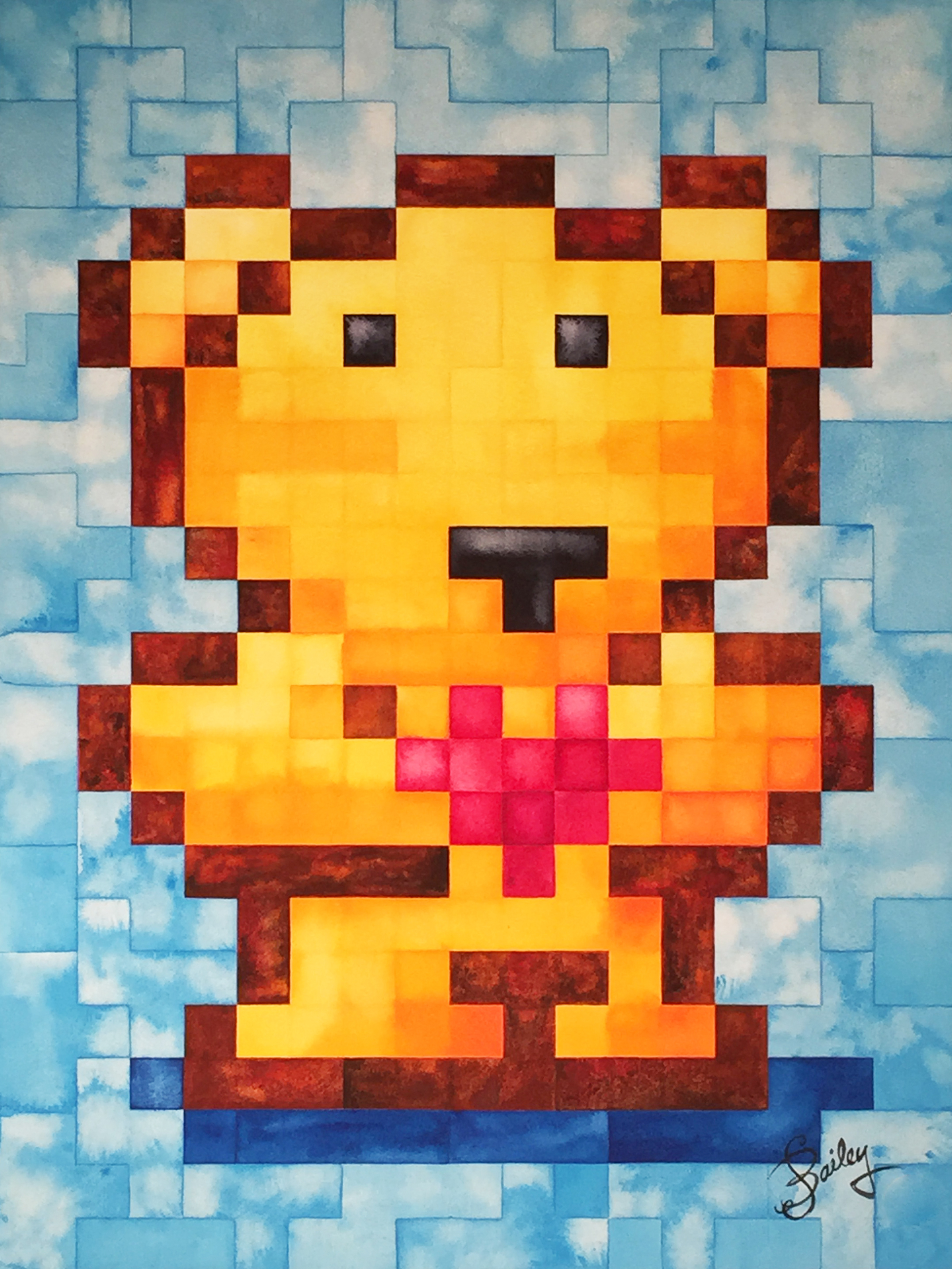 original pixel bear no 1 giclee archival reproduction pixel bear