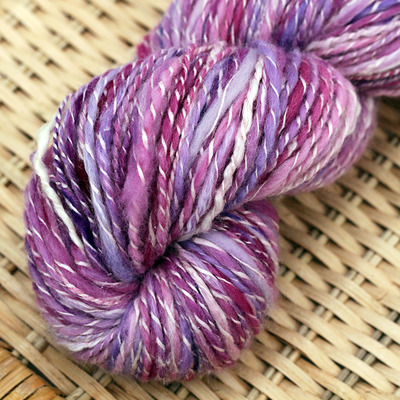 Cotton candy 2-ply textured handspun yarn