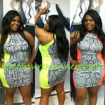 Neon tribal dress PLUS