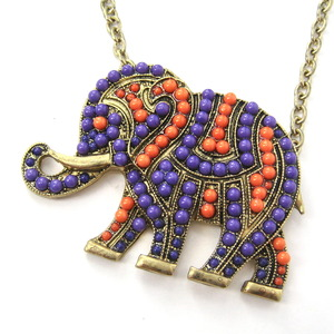 Elephant Animal Charm Pendant Necklace with Beaded Detail