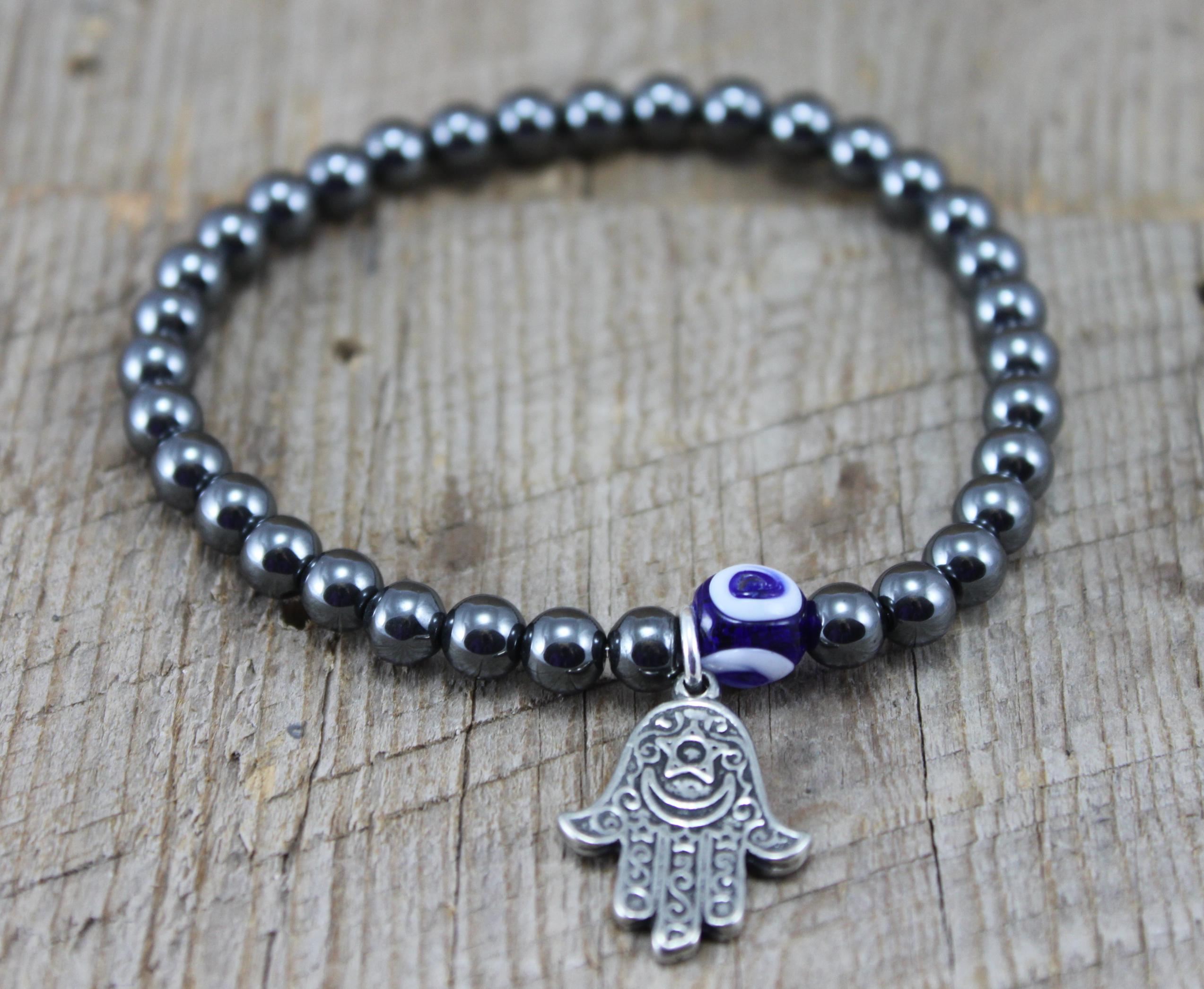 SariBlue Hematite Good Luck Charm Bracelet