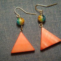Orange Mother of Pearl Triangle Earrings