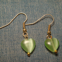 Green Cat's Eye Heart Earrings