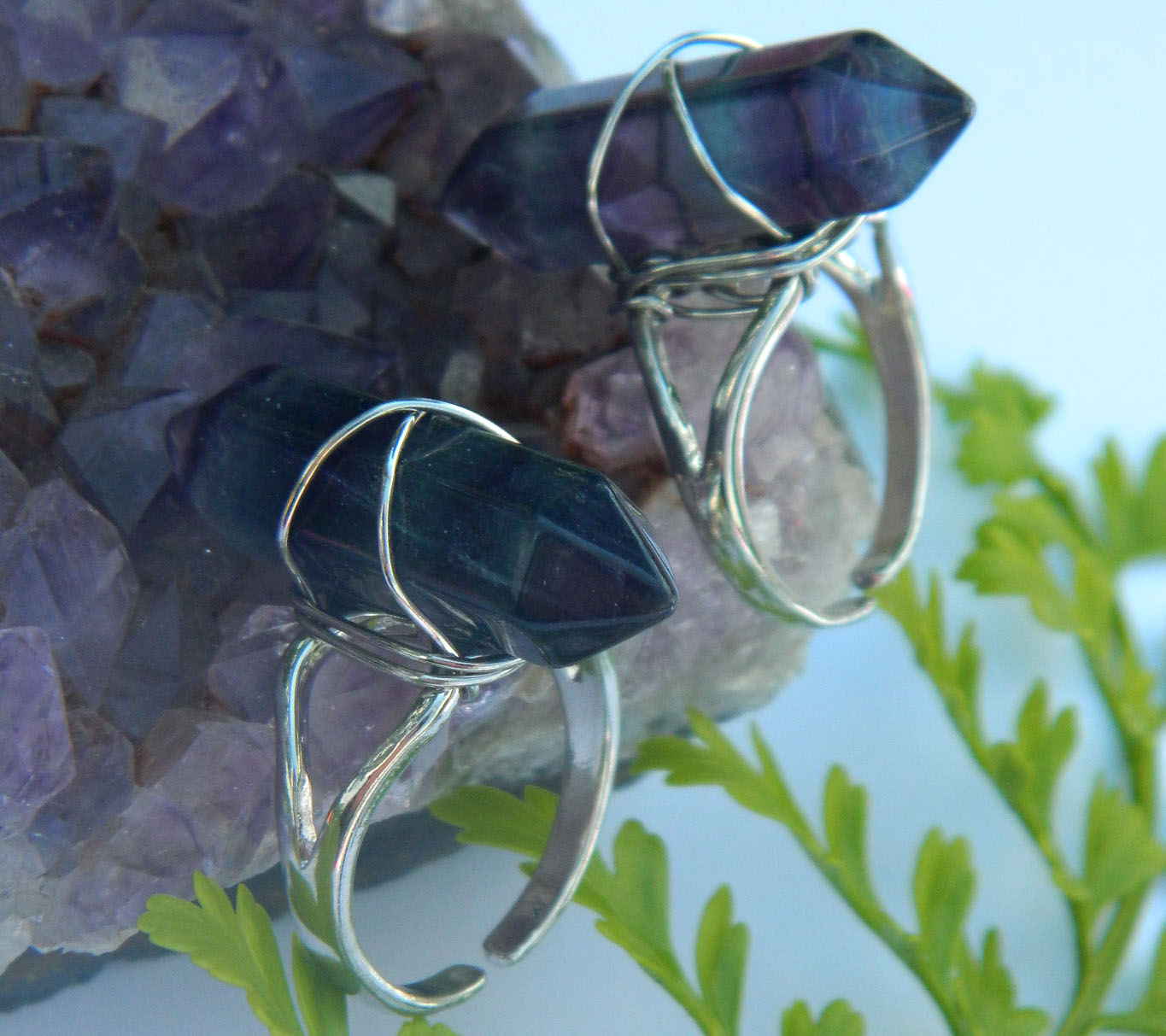 Wire Wrapped Polished Rainbow Fluorite Ring · whismical · Online ...