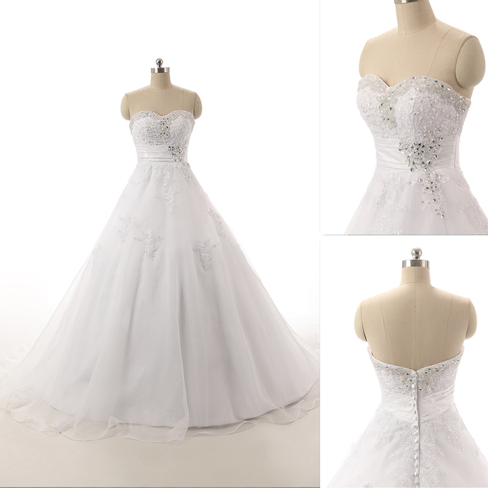 Sweetheart Classy A-Line Wedding Dresses,Sleeveless Organza Princess ...