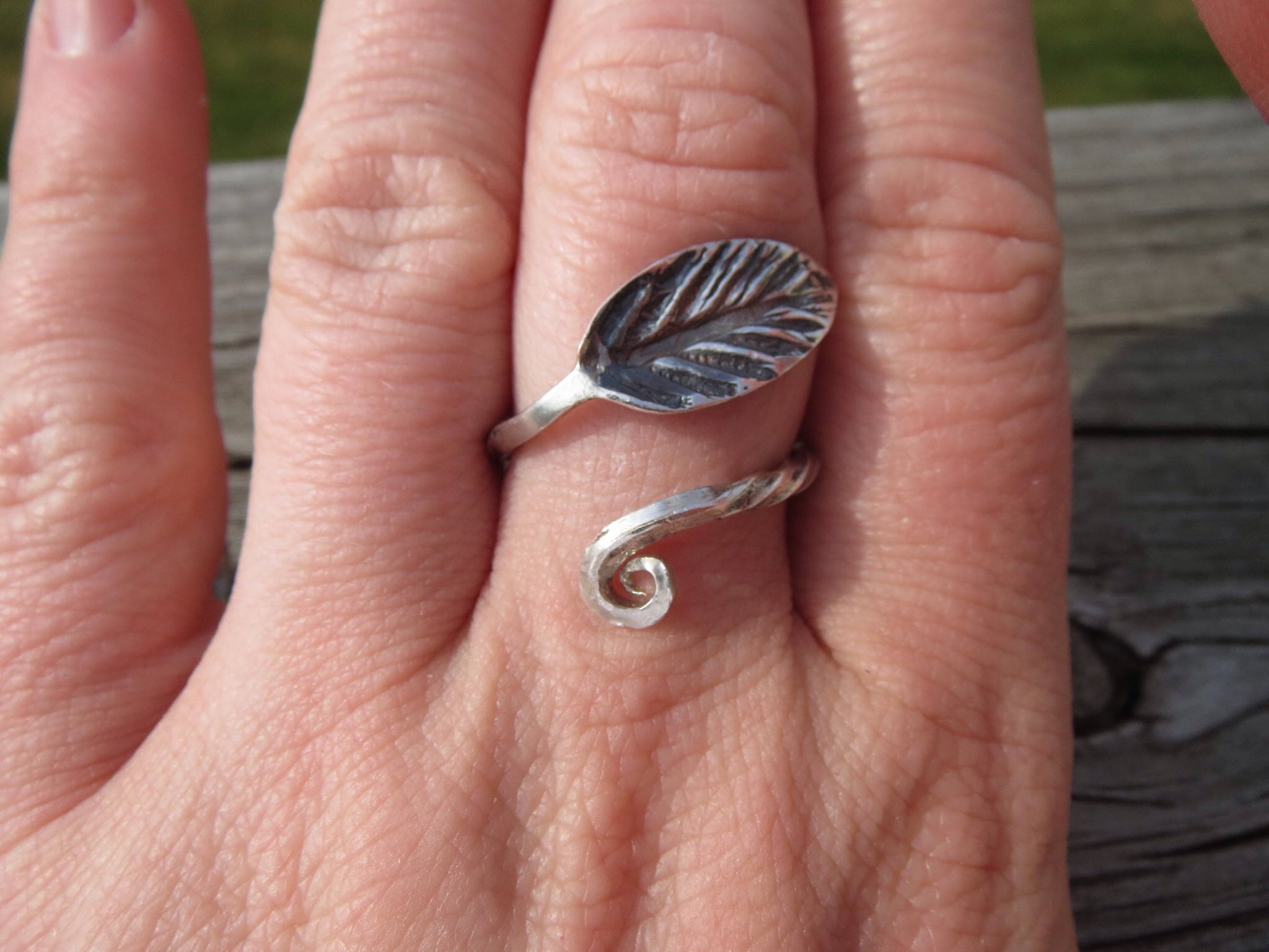 Sterling Leaf Ring with twisted bypass band, from recycled ...