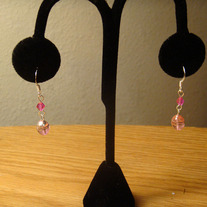 Pink Glass & Crystal Earrings
