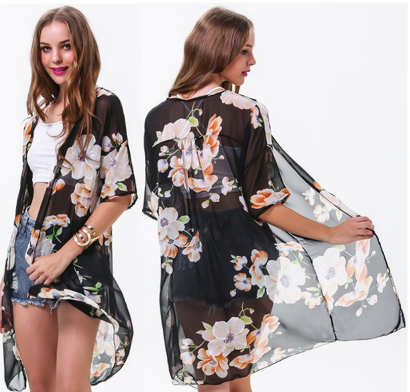 Long Black Floral Kimono Cardigan · WardrobeCafe ·
