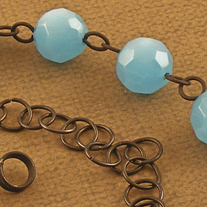 Frosted Blue Glass and Handmade Chain Necklace