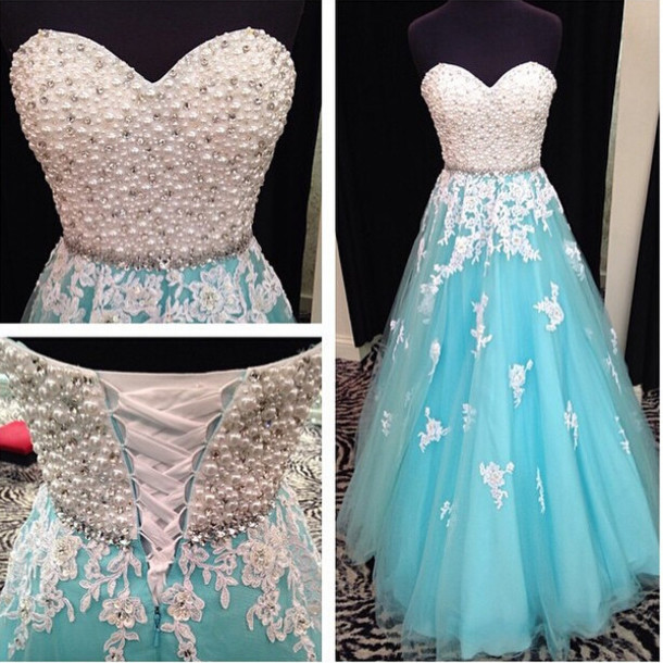 blue prom dresses, sweet heart prom dress, lace up prom dress, lace ...