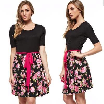 Black top floral dress with tie