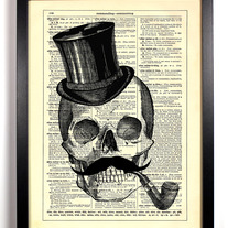 Image of Skeleton With Mustache And Top Hat, 8 x 10 Art Print