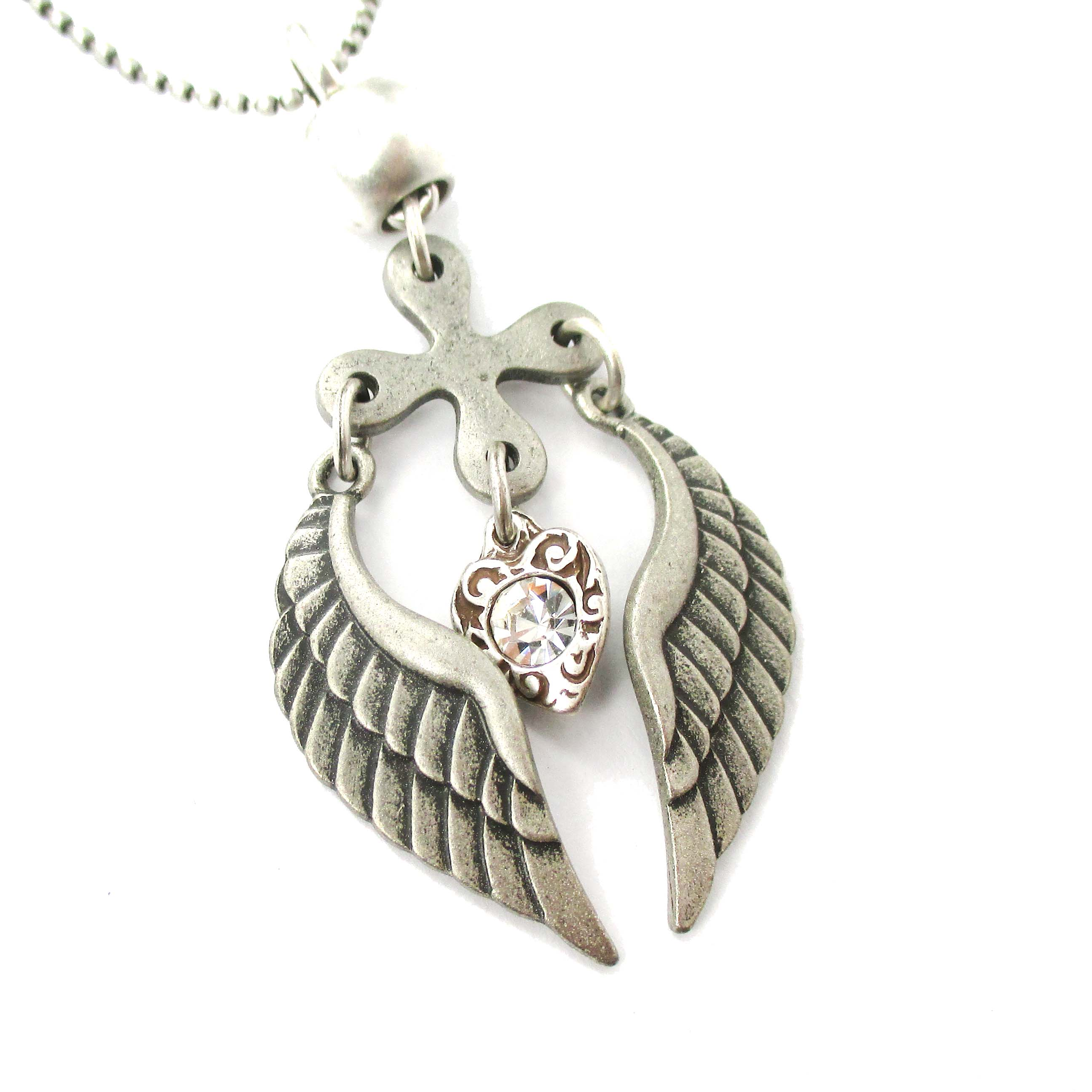 w valentines products couples angel stainless her pendant steel chain him necklaces gifts wings for pendants lovers couple necklace day