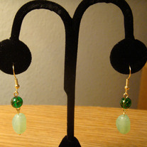 Two-Tone Green & Gold Earrings