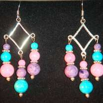 Purple, Pink, & Aqua Sandstone with Tibetan Silver Triple Dangle Earrings