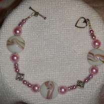Pink Ceramic Coin Bracelet with Glass Pearls & Tibetan Silver (8 inch)