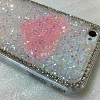 New Chic Bling Sparkle Candy Color Crystals Pink Heart iPhone Case
