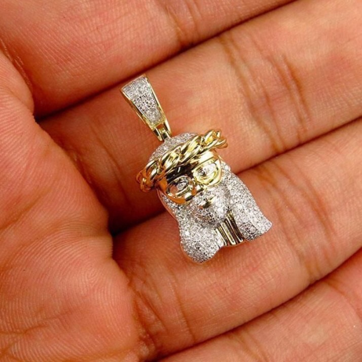 10k yellow gold mini jesus face piece cuban link crown diamond 10k yellow gold mini jesus face piece cuban link crown diamond pendant 050ct thumbnail aloadofball Image collections