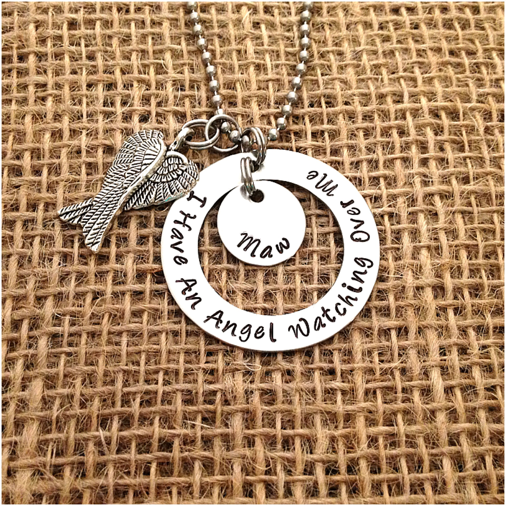 personalized hand stamped necklace i have an angel watching over me