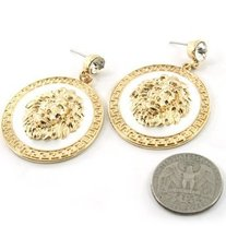 WHITE & GOLD MEDALLION LION HEAD EARRINGS
