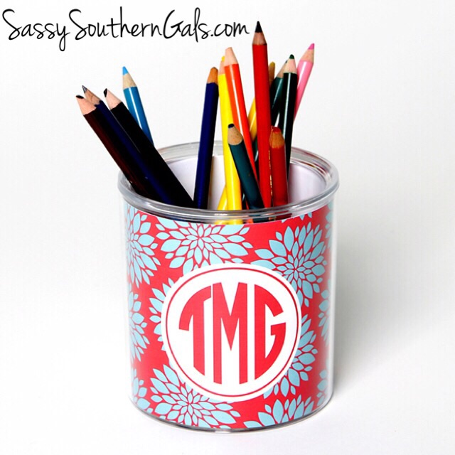 Monogrammed Lucite Desk Organizer, Personalized Pencil Holder