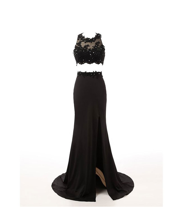 Elegant Long Prom Dresses,Sheer Lace Black Prom Dresses,Two Piece ...