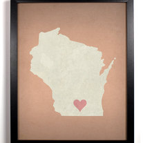 Image of Wisconsin State LOVE, Giclee Art Print, 8 x 10 inches