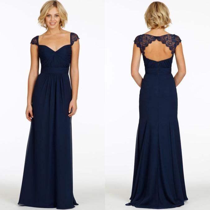 long bridesmaid dresses, navy