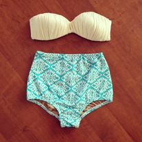 Ikat High Waisted Bikini Bottom