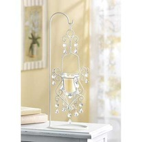 #39058 Vintage Crystal Drop Candle Holder