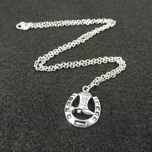 Cowboy Boot Horseshoe Necklace